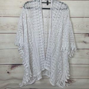 LANE BRYANT White Lace Kimono Bathing Suit Coverup